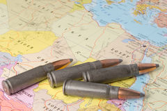Bullets on the map of North Africa Stock Image