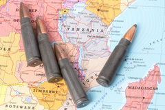 Bullets on the map of Tanzania Stock Images