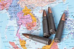 Bullets on the map of Thailand, Laos and Vietnam Stock Images