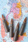 Bullets on the map of Thailand, Vietnam and Laos Royalty Free Stock Photo