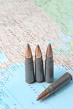 Bullets on the map of United States of America Stock Photos