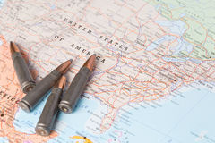Bullets on the map of United States of America Royalty Free Stock Image