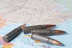 Bullets on the map of United States of America Royalty Free Stock Photo