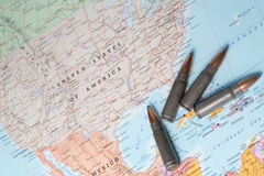 Bullets on the map of United States of America Royalty Free Stock Photos