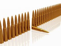 Bullets 9mm ammo row. Row Bullets 9mm ammo ammunition  horizontal copper Royalty Free Stock Images