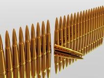 Bullets 9mm ammo row Royalty Free Stock Photo