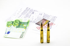 Bullets, money and documents of the investigation Stock Photography