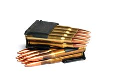 Bullets No2. 30 caliber rifle bullets in clips. These bullets are used in an antique Garand M1 for target shooting. The Garand M1 was a U.S. service rifle from royalty free stock image