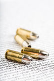 Bullets over violence. And other words depicting killing, death, brutality, conflict, etc Royalty Free Stock Image