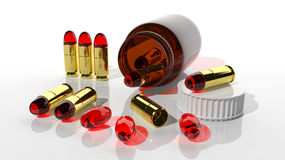 Bullets pills Stock Image