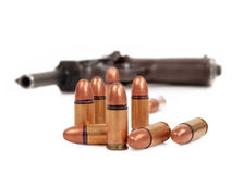 Bullets and pistol Royalty Free Stock Photos