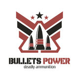 Bullets Power logo. Deadly ammunition. Stock Photo