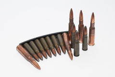 Bullets 54R SVD and stripper clip 7.62 x 39 SKS. Stripper clip 7.62 x 39 for SKS and 54R for SVD Stock Photos