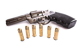 Bullets and revolver. Royalty Free Stock Photo