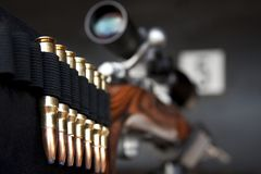Bullets on rifle Royalty Free Stock Photos