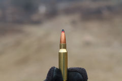 Bullets for rifle. Bullet in the box. Stock Photography
