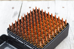 Bullets for rifle. Bullet in the box. Royalty Free Stock Photo