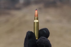 Bullets for rifle. Bullet in the box. stock photos