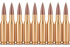 Bullets in a row, 3D rendering Stock Images