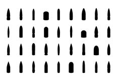 Bullets silhouettes set. Weapon bullets silhouettes set. Vector EPS10 Stock Photos