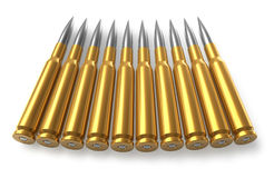 Bullets for sniper rifle. Set of bullets for sniper rifle isolated over white background Stock Photo