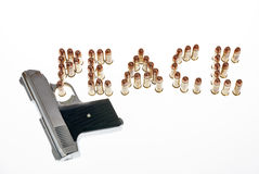 Bullets spelling Peace and a pistol Royalty Free Stock Photo