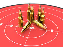 Bullets on the top of red target, ammo, ammunition. Bullets on the top of red target. Good for military, guns and ammunition concept stock illustration