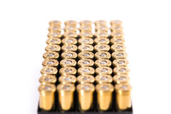 Bullets on white background. Cartridge. Group of revolvers bullets on white background Stock Photo