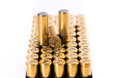 Bullets on white background. Cartridge. Group of revolvers bullets on white background Stock Image