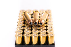 Bullets on white background. Cartridge. Group of revolvers bullets on white background Stock Images
