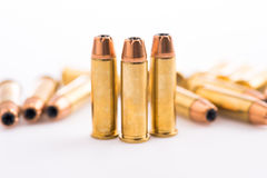 Bullets on white background. Bullets for 38 revolver hand gun Stock Photo