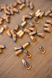 Bullets on wood background Stock Image
