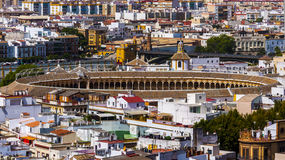 Bullfight arena aerial view in Seville Royalty Free Stock Photo