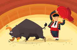 Bullfight on arena illustration. Man with red cloth showing tricks with an angry bull on arena Stock Photography