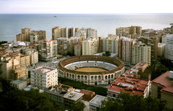 Bullfight arena in Malaga. Bullfight arena surrounded by buildings in Malaga, Spain Royalty Free Stock Photos