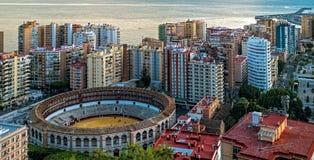 Bullfight arena, plac De Toros przy Malaga, Hiszpania obrazy stock