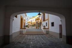Bullfight arena, plaza de toros at Sevilla. Royalty Free Stock Images
