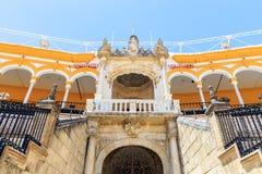 Bullfight arena, plaza de toros in Seville,La Maestranza Royalty Free Stock Photography