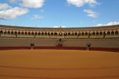 Bullfight arena in Sevilla. Picture taken in Sevilla, Spain in the empty bullfight ring stock photo