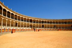 Bullfight arena in Spain. Very famous bullfight arena in Ronda, Andalucia, Spain royalty free stock photos