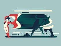 Bullfight, bull runs to the bullfighter. royalty free illustration
