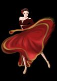 Bullfight Dancer Paso Doble. A Paso Doble dancer in red, oh, she is a oriental girl Stock Images