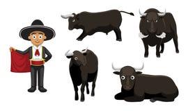 Bullfight Matador Cartoon Vector Illustration