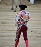 Bullfight. In spain in spanish bullring arena with big bull Stock Photos