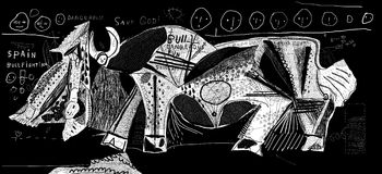 Bullfight. The symbolic image of bullfight in which the bull defeated a bullfighter Royalty Free Stock Photography