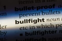 Bullfight. Word in a dictionary.  concept Royalty Free Stock Photography