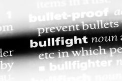 Bullfight. Word in a dictionary.  concept Royalty Free Stock Images
