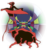 Bullfighter and bull. Graphic contour image of a bullfighter and the bull on the bright circus arena Royalty Free Stock Images