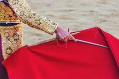 Bullfighter cape and sword Stock Photos
