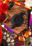 Bullfighter and flamenco typical from Espana Spain torero. Hat castanets comb flag and rose Royalty Free Stock Image